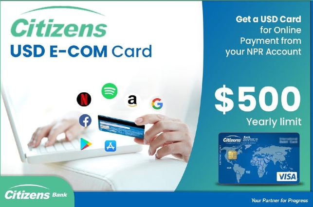 Citizens Bank launches USD E-COM Card for Nepalese customers