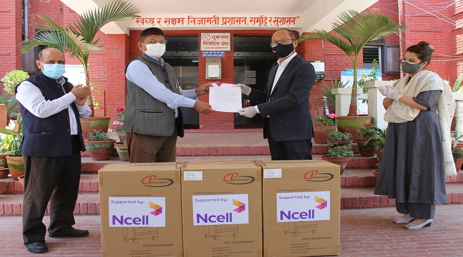 Ncell extends support to government hospitals with oxygen concentrators