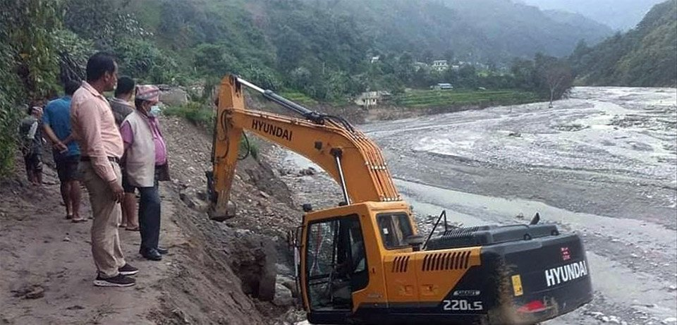 Works ongoing to construct access road to the intake of Melamchi Water Supply Project